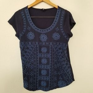 Lucky Brand top EMBROIDERED medium blue MIXED